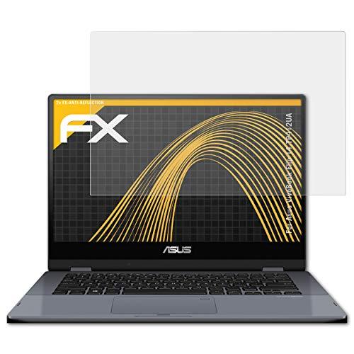 atFolix Panzerfolie kompatibel mit Asus VivoBook Flip 14 TP412UA Schutzfolie, entspiegelnde & stoßdämpfende FX Folie (2X)