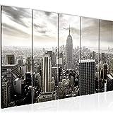 Bilder New York City Wandbild 150 x 60 cm Vlies - Leinwand Bild XXL Format Wandbilder Wohnzimmer Wohnung Deko Kunstdrucke Weiß 5 Teilig - MADE IN GERMANY - Fertig zum Aufhängen 603456c
