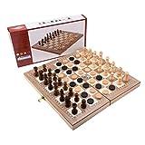 G-Tree 3 in 1 Multifunktionsholzbrettspiele Schachspiel - Schach & Backgammon & Drafts Set für Kinder ab 6 Jahren und Erwachsene - 29 x 29 cm