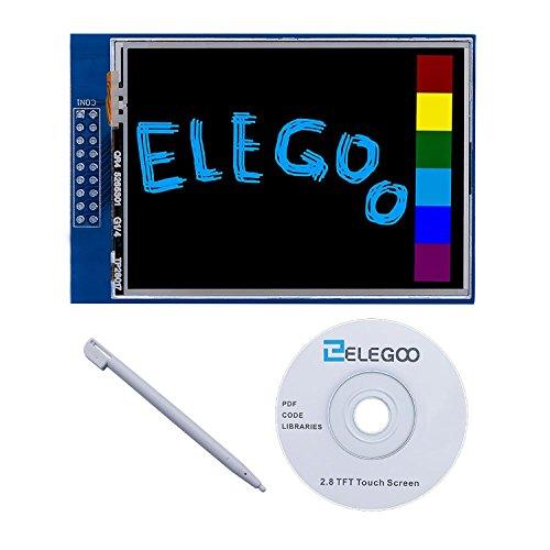 Elegoo UNO R3 2,8 Pouces écran Tactile TFT Touch Screen 320x240 avec SD Card Socket avec All Technical Data en CD pour Arduino UNO R3
