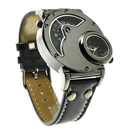 SAMGU Aviator Pilot Army Military Sports Quarzmens Armbanduhr Doppelzeit Schwarzen Lederarmband Herrenuhr Farbe schwarz 2