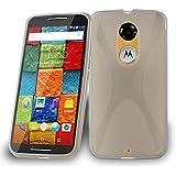 Cadorabo - Motorola MOTO X (2.Generación) Cubierta protectora de silicona TPU en diseño X-Line - Case Cover Funda Carcasa Protección en SEMI-TRANSPARENTE