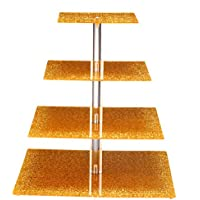 Sumerflos acrilico 4-tier Square unico oro wedding cupcake stand/espositore per torta/cupcake Tree Tower Holder/food espositore