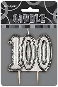 Glitz Black 100th Birthday Candle