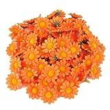 AKORD Artificiale Gerbera Teste di Fiore per Matrimonio, Decorazione casa, Tessuto/plastica, Arancione, 3.8x 3.8x 1.5cm