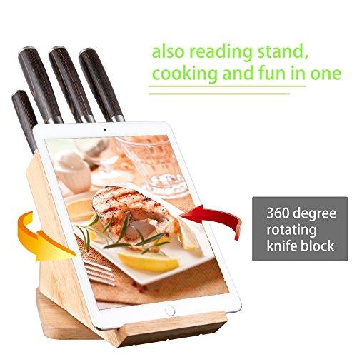 Cuchillos Cocina Deik Juego de Cuchillos de Cocina de 6 Piezas Acero Inoxidable y con Mango de Madera. Se Incluye un Tacoma de Madera Giratorio