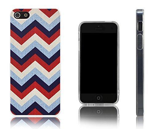 Lilware Zigzag Imprint Flexibel TPU Gel Schutzhülle Für Apple iPhone SE/5S/5. Benutzerdefinierte Textur von Bunter Linien. Ertragriemen inklusive. Multi farbigen (Linien Hipster)
