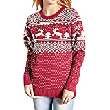 Tianwlio Damen Lässige Langarmshirt Weihnachtsaltes Lässige Weihnachten Gedruckt Langarm Oansatz Sweatshirt Pullover Top Bluse rot S