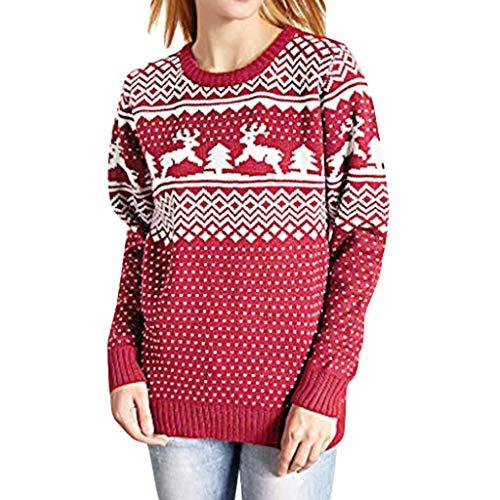 Preisvergleich Produktbild Tianwlio Damen Lässige Langarmshirt Weihnachtsaltes Lässige Weihnachten Gedruckt Langarm Oansatz Sweatshirt Pullover Top Bluse rot M