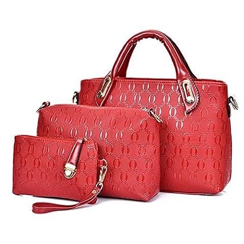 C.CHUANG Women Classic Elegant Pu Leather 3 Piece Tote Bag Shoulder Bag Purse(C4)