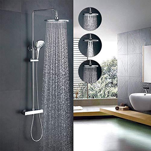 Homelody Duschsystem Duschset Duscharmatur mit Thermostat 3 Funktionen Regendusche und Brause,Thermostatset mit Thermostatbatterie