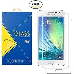 [2 Pack] Film Verre Trempé Samsung Galaxy A3 (2015) SM-A300 / A300F / A300H / A300G/ A300FU / A300FD / A300HD - Protection contre chocs et rayures
