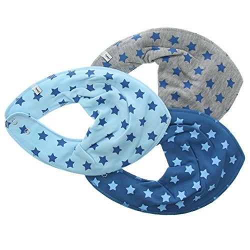 Pippi 3er Pack Baby Jungen Halstuch mit Aufdruck, Farbe: Blau und Grau, One Size, 3716
