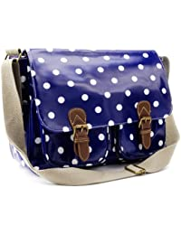 Anladia Grand Sac a Epaule Bandouliere Style Cartable Neuf Bleu a Pois Blanc