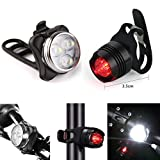 USB wiederaufladbarer Fahrrad-Beleuchtungsset, superhelles LED-Fahrrad-Lichtset vorne und hinten, 3 Leuchtmodus-Optionen, wasserdicht, passend für alle Fahrräder, am Rucksack befestigt, Helm, Jacke (A)