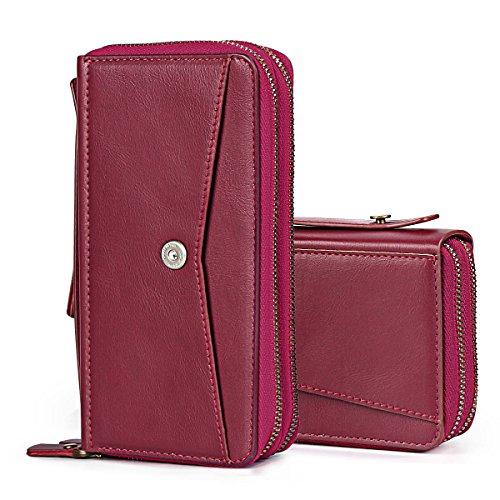 TSCASE Universal Handy Ledertasche als Geldbörse Brieftasche mit Reißverschluss, Geldfach, Kreditkartenfach und Spiegel. Aus Leder, mit Griff, passend für iPhone 7 (Plus), iPhone 6/6s (Plus), Samsung Galaxy S7 (Edge), Huawei P9 und alle anderen unter 14cm/5.5 zoll