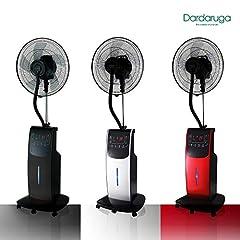Idea Regalo - DARDARUGA Ventilatore Digitale con NEBULIZZATORE AD Acqua WFD, IONIZZATORE, Repellente Insetti E VANO per Aroma (Argento)