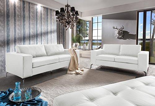 SAM Sofa Garnitur 2tlg. Belair, in Weiß, Sofalandschaft Bestehend aus 1 x 2-Sitzer + 1 x 3-Sitzer + 1 x Hocker, mit Taschenfederung