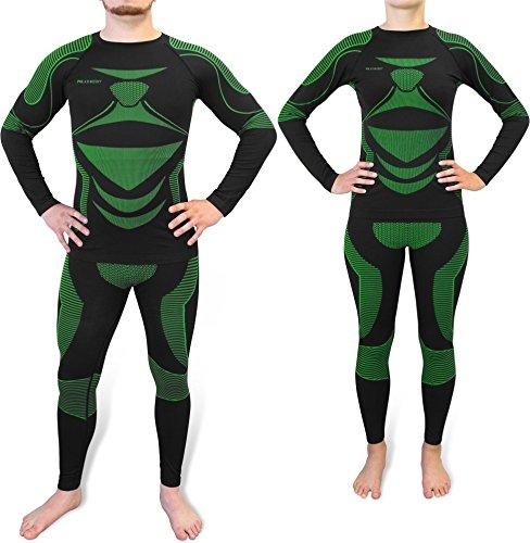 Sport Funktionswäsche Garnitur (Hose + Hemd) für Damen und Herren - Ski Unterwäsche mit Elasthan von normani® EAW / Grün