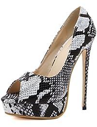 e08c4aa2500887 Easemax Damen Schick Schlangen Muster Ultra High Heels Slip on Pumps -  muwi-duesseldorf.de