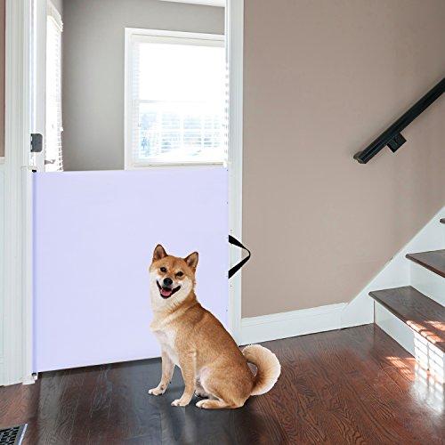 PawHut Hunde Türschutzgitter Treppenschutzgitter Treppenschutz Sicherheitstrennwand Hundegitter Trennwand Türschutz Rollo einrollbar - 2