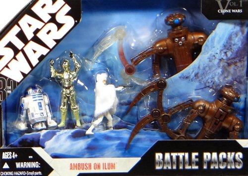 """Preisvergleich Produktbild Battle Pack """"Ambush on Ilum"""" mit Padme Amidala,  C-3PO,  R2-D2 & 2 Camäleon Droids - Star Wars """"Clone Wars"""" von Hasbro"""