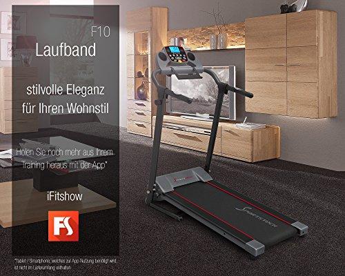 Sportstech F10 Laufband mit Smartphone App Steuerung, Pulsgurt im Wert von 39,90 € inklusive, Bluetooth, 1PS, 10 KM/H, für Geh- und Lauftraining mit 13 Programmen - kompakt klappbar verstaubar -