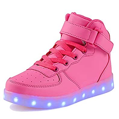 SAGUARO Unisexe Homme Femme USB Charging 7Color Changing LED Ligh Ted Luminous Couple Casual Sport Shoes High Top Flash Sneakers - - Stieg rot,