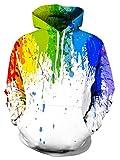 Leapparel Herren Pullover Hoodies 3D Grafik Tie Dye Graffiti All-over Print Leichtgewichtig Sweatshirt mit Tunnelzug und Große Kängurutasche und Fleece-Innenfutter