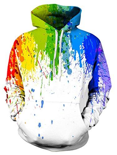 Leapparel Herren Pullover Hoodies 3D Grafik Tie Dye Graffiti All-over Print Leichtgewichtig Sweatshirt mit Tunnelzug und Große Kängurutasche und Fleece-Innenfutter (Tie Langarm Dye Mädchen)
