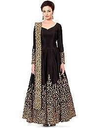 Ethnic Diwa Taffeta Silk Salwar Suit With Embroidery Work Black Coloursemi-Stitched Bollywood Style Salwar Suit...