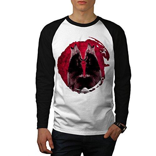 wellcoda Heulen Wolf Mond Mode Männer XL Baseball LS T-Shirt