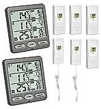 TFA-Dostmann Funk-Thermometer Trio Mega TFA 30.3062.Mega Angebot mit 2 Displays und 6 Sender (anthrazit 30.3062.10.Mega)