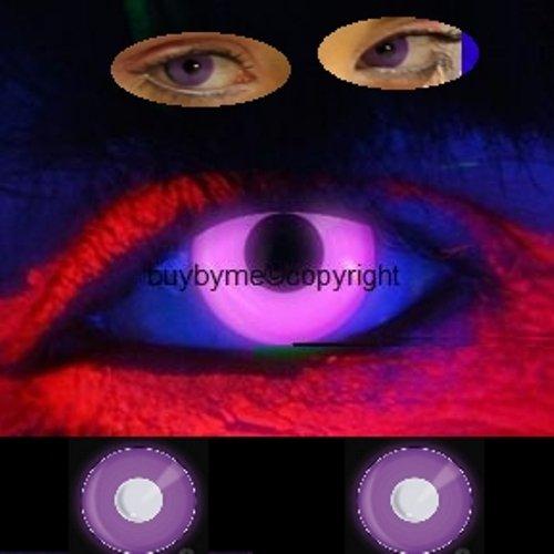 83081 Paar Kontaktlinsen UV leuchtend linsen farbig lila violett schwarzlicht halloween kostüme neu