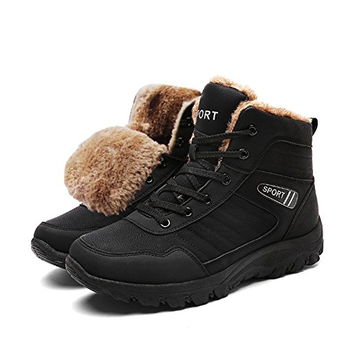 Herren Winterschuhe Wasserdicht Winterstiefel Trekking Wanderschuhe Warm Gefütterte Schneestiefel Outdoor Sneaker Boots Schwarz 44