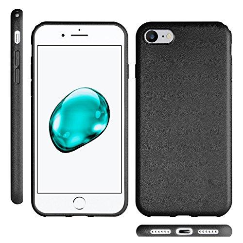 iPhone 5S Hülle Silikon Dunkel-Blau in Leder Optik [OneFlow Flex Back-Cover] Schutzhülle Etui Handy-Hülle für iPhone 5/5S/SE Case Ultra-Slim Silikonhülle Tasche DEEP-BLACK