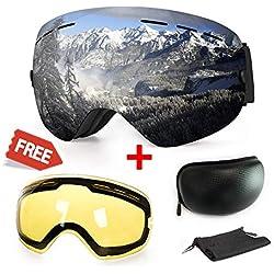 WLZP [2019 New] Masque de Ski ou Snowboard avec Traitement Anti-buée et Protection Anti-UV - Verres sphériques Doubles interchangeables - pour Hommes, Femmes et Enfants