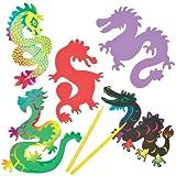 """Kratzbild-Magneten """"Chinesischer Drache"""" für Kinder zum Basteln (10 Stück)"""