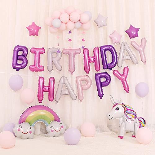 Lehoo Castle Einhorn Geburtstagsdeko Mädchen,Rosa Happy Birthday Banner Set mit Einhorn Folienballon Latex Konfetti Luftballons Partydekoration für Mädchen Freundin Frauen