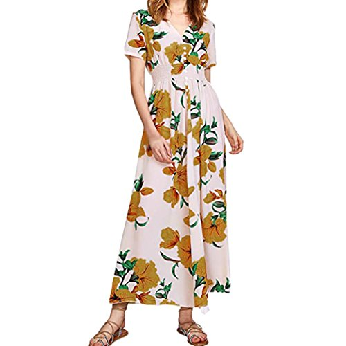 Lucky mall Frauen Kurzarm Strandkleid, Button Blumendruck Party Kleid
