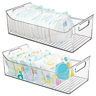 mDesign rangement chambre enfant (lot de 2) – grand panier de rangement sans couvercle avec poignées pratiques – bac de rangement en plastique avec 1 grand casier pour jouets, etc. – transparent
