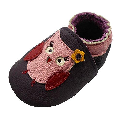 YIHAKIDS Premium Weich Leder Babyschuhe Krabbelschuhe Lauflernschuhe Kleinkind Lederschuhe mit Hübsche Eule(Dunkel violett,6-12 Monate,22 EU)