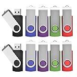 10pcs 1GB Swivel Design USB 2.0 Flash Drive Memory Stick (5 Mixed Colors: Black Blue Green Purple Red)