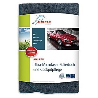 ALCLEAR A257343 Mikrofaser Poliertuch und Cockpitpflege-Tuch für Auto & Motorrad, für Reiniger, Politur und Autopflege, 40x40 cm