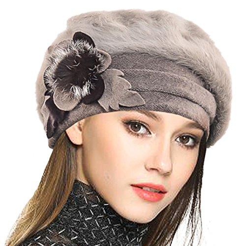 Damen Wolle Barette Angola Kleid Beanie Schädel Mützen Stricken Winter Hüte (Khaki)