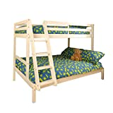 Comfy Living Triple Wooden Pine Bunk Bed 3ft & 4ft in a White Wash finish - Durleigh