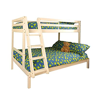 Comfy Living Triple Wooden Pine Bunk Bed 3ft & 4ft in a White Wash finish 2 Mattresses