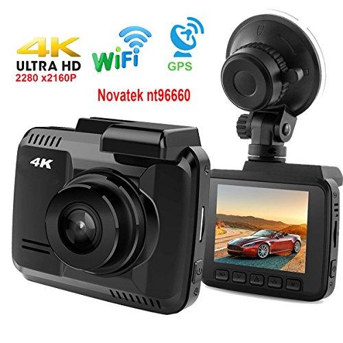 DashCam Autokamera DVR Dashboard-Kamera Rekorder mit 4K FHD,eingebautes WiFi & GPS, APP- Support, G-Sensor, 2.4