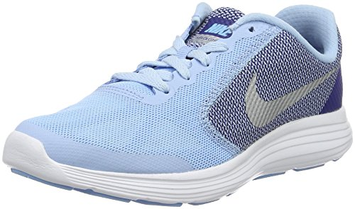 Nike Mädchen Revolution 3 (GS) Laufschuhe, Azul (Bluecap / Metallic Silver-Deep Royal Blue), 36.5 EU (Nike Big Kinder Socken)
