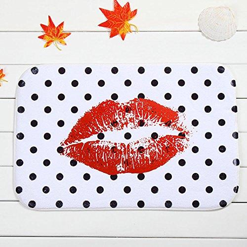 Tapis anti-dérapant en face de la maison chambre tapis/moucheté lèvres rouges 40x60cm
